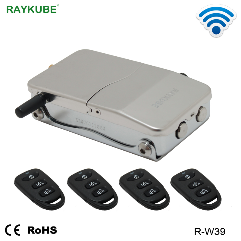 RAYKUBE Wireless Electronic Lock With Remote Control Keys Opening Invisible Intelligent Lock Wireless Keyless Door Lock R-W39