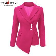 SEBOWEL 2019 Autumn New Women's Long-sleeved Blazers Office Ladies Asymmetric La