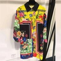 Мода 2019 г. с длинным рукавом для женщин's рубашки для мальчиков V образным вырезом цветочным принтом Повседневная Блузка Высокое качество
