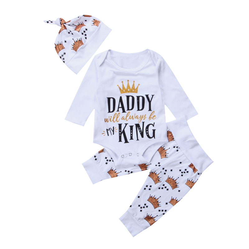 3PCS Set Newborn Baby Girl Clothes Set Long Sleeve Crown Tops Romper+Long Pants Hat Kids Outfit Clothes