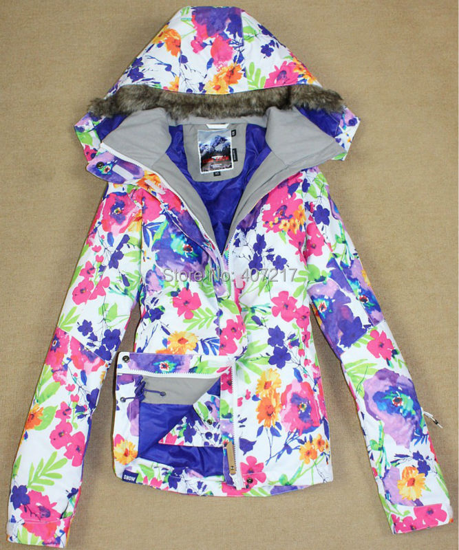 2016 new womens white sunflower ski jacket ladies flowered snowboarding jackets colorful skiing jacket for women anorak skiwear 2016 womens color matching ski jacket blue pink gray snowboarding jackets skiing jacket for women anorak skiwear 10k xs l
