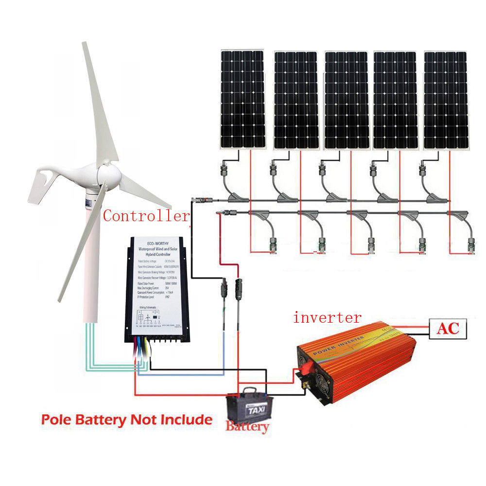 400W Wind Generator 5*100W Mono Solar Panel 12V-220V 1KW Inverter green windmill