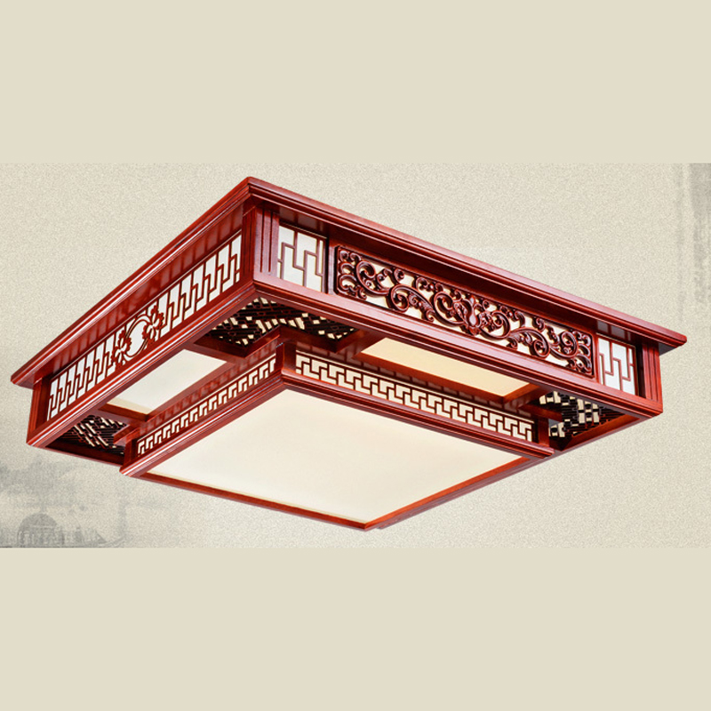 Modern LED ceiling light wood Chinese Style LED ceiling lamps Living Room Rectangle Solid Wood Bedroom villa lighting ZA323105