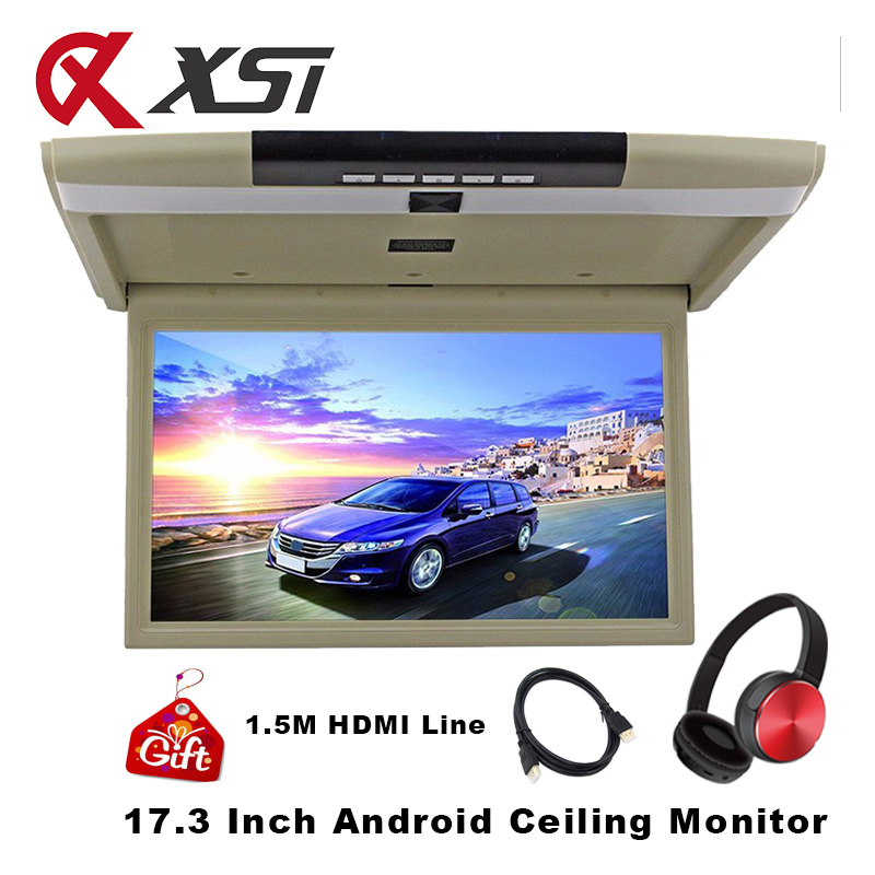17 3 Inch Android 6 0 Car Roof Mount Monitor Ceiling HD 1080P Video Player With