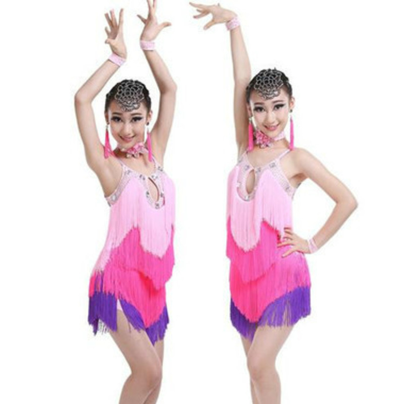 tassel latin dance dress for girls salsa spandex rumba tango children ballroom dresses for kids samba competition fringe cha cha
