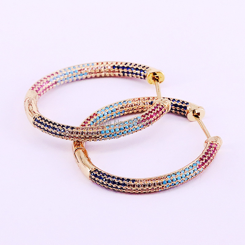 3Pairs High Quality Delicate Popular Rainbow CZ Oval Hoop Earring for women gold colorJewely