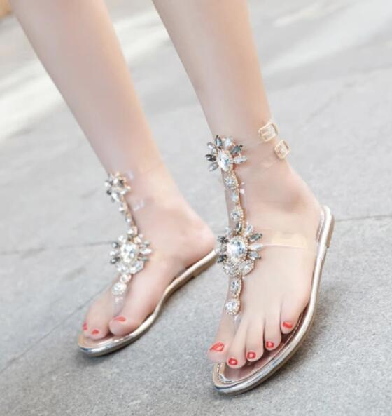 e5a4903355 Woman Sandals Women Shoes Rhinestones Chains Thong Gladiator Flat Sandals  Crystal Chaussure Plus Size 43 Tenis Feminino Gold Shoes Flat Shoes From ...