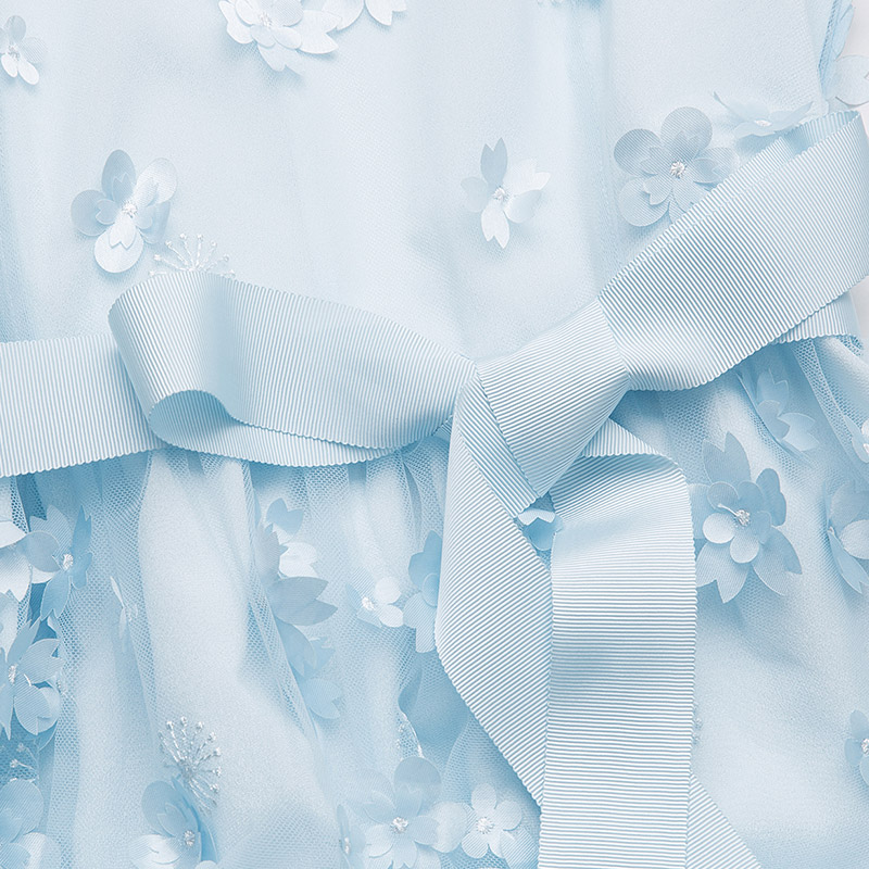 Sexy Fiestadîner Taille Ciel Ruban Pétale 2018 Aofuli Dentelle Pu S De Pour 5xl Grande Robes Bleu Arc Dames Fleur 3697 Femmes Fête Robe lcK1T3FJ