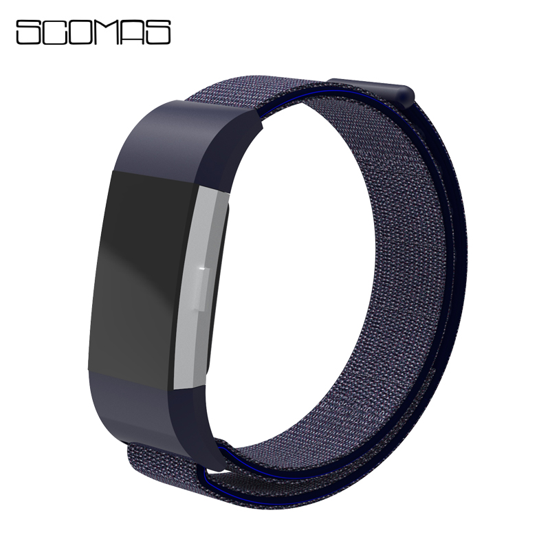 SCOMAS Nylon Magnetic Loop Breathable Replacement Strap for Fitbit Charge2 Wrist Band Adjustable Bands for Fit Bit Charge 2