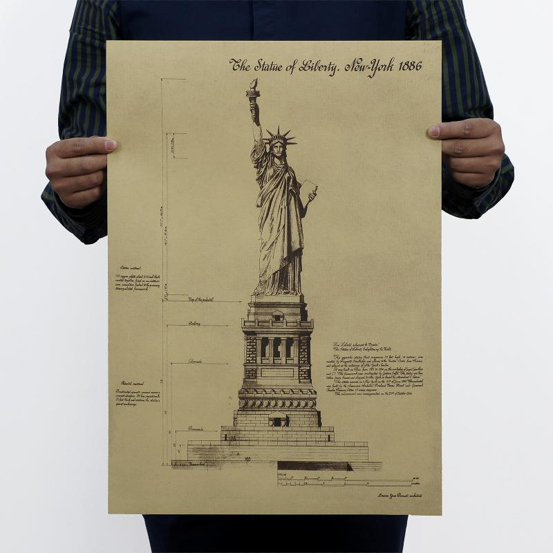 Statue Of Liberty Retro Poster Wall Stickers Room Decor 0221 Home Decals Vintage Usa Symbol