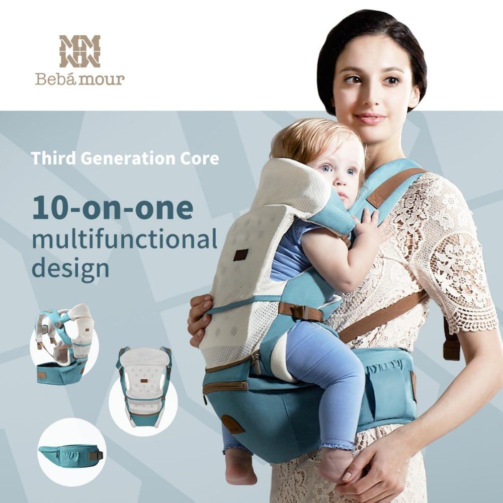 Bebamour Bébé Siège Pour Hanche Hipseat 10 dans 1 Porte-Bébé Amovible Bébé Sling Wrap Confortable et Respirant Unique Siège Pour Hanche Hipseat