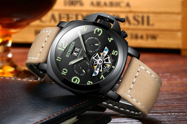 Original Luxury Brand BINGER Style PANERAI Skeleton Tourbillon Design Automatic Mechanical With Leather Band Strap