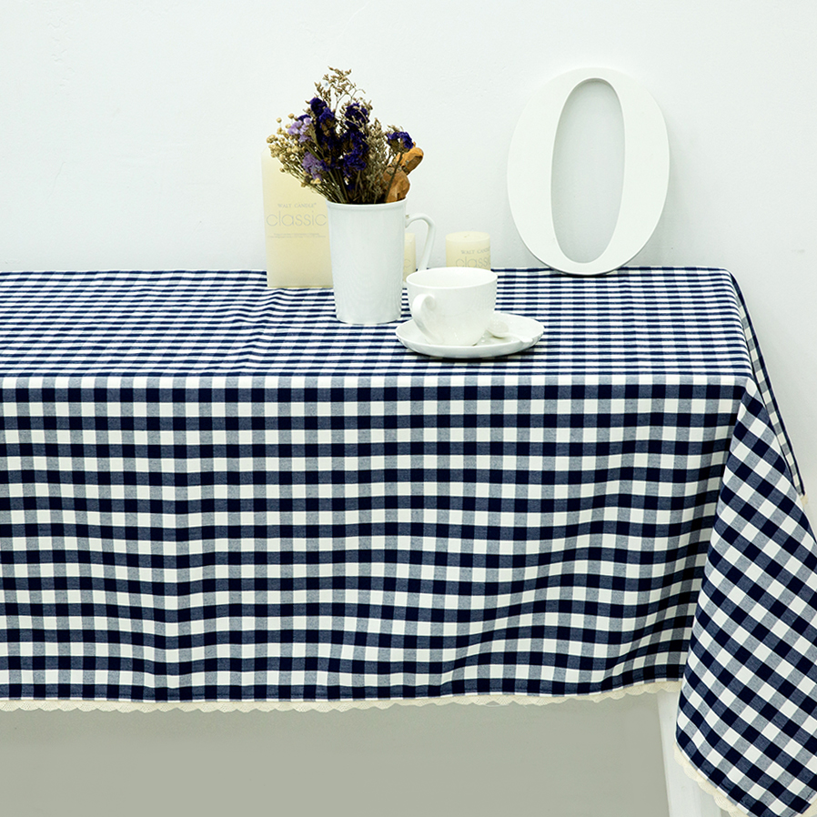 Beautiful Navy Blue Plaid Printed Lace Tablecloth Table Cloth Water Repellent Oil  Resistant Mildew Resistant Embroidered Tablecloth
