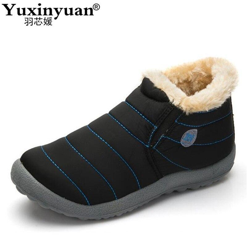 Новая мода Мужская зимняя обувь однотонные зимние сапоги теплые водонепроницаемые лыжные ботинки на нескользящей подошве с хлопчатобумажным утеплителем внутри, Размеры 48