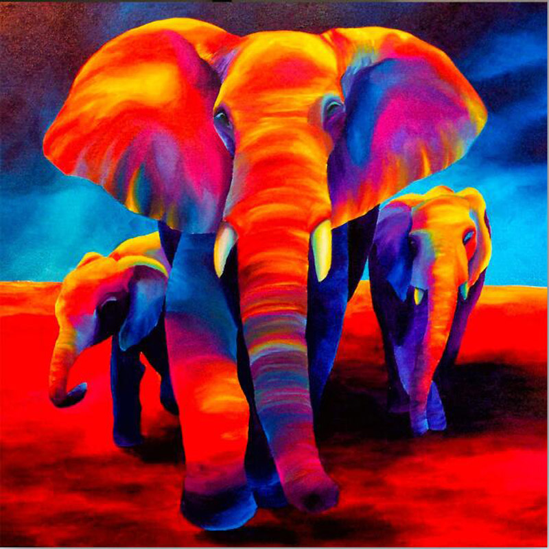 5d Diamond Mosaic Cross Stitch Colors Elephant Pictures Living Room Embroidery Hand Made