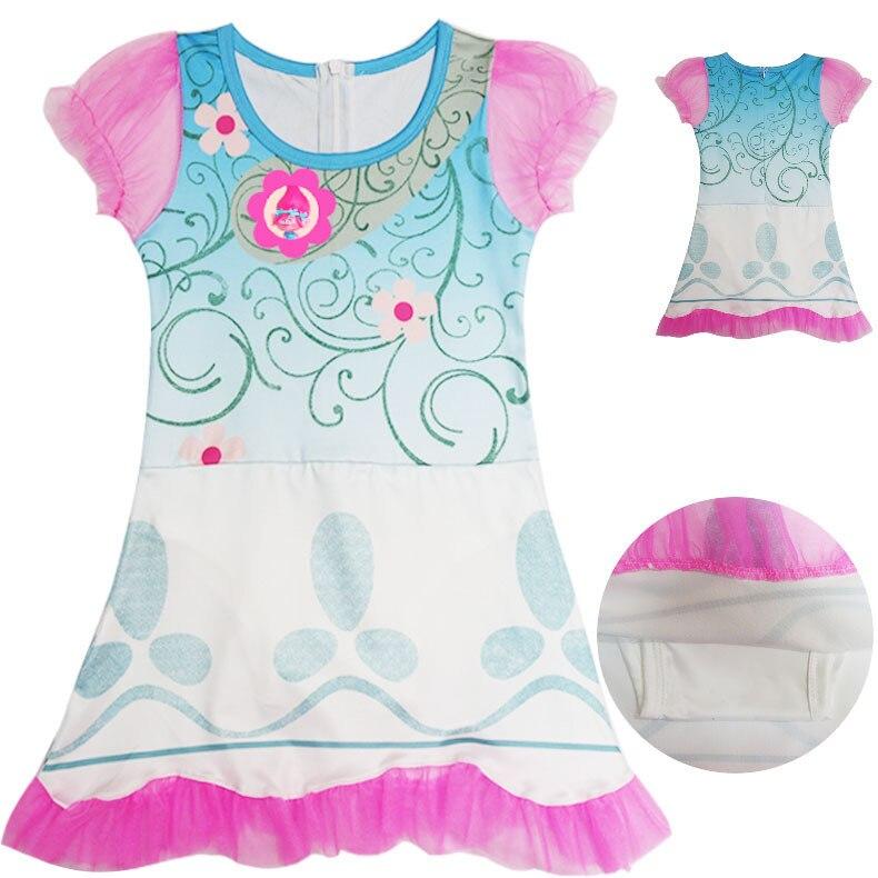 Girl Kids Trolls Poppy Dress Skirt Child Cosplay Costume Magic Children Swimming Suit Swimwear Bathing Cap Hat