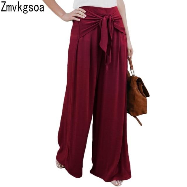 Zmvkgsoa anchos para las mujeres Culottes largos recorrer el camino lazo  elástico cintura Palazzo Pantalones de 0ff15da9eb8b