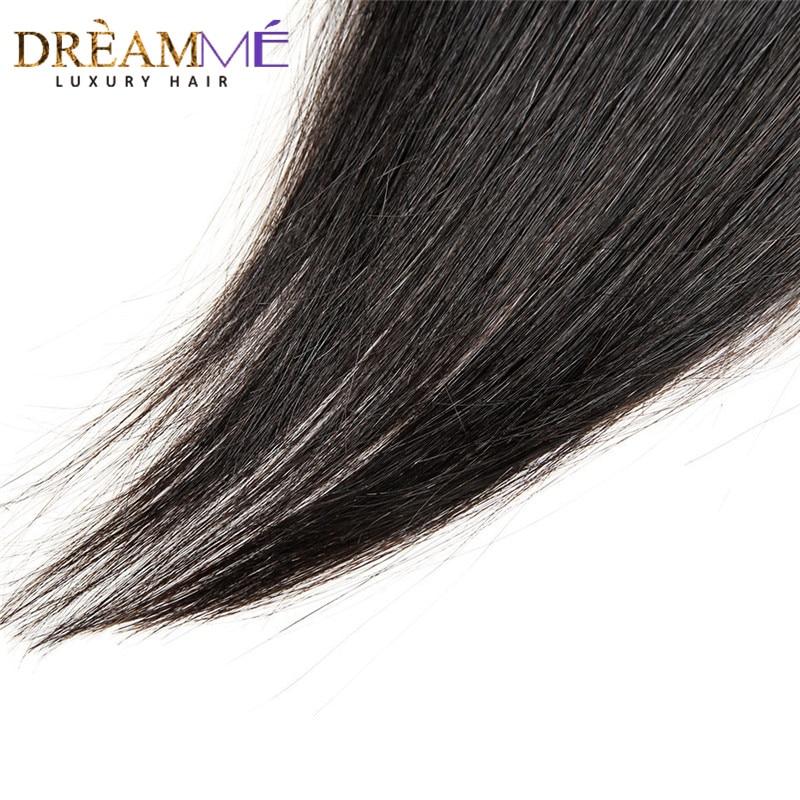 Dreamme brazilski naravnost lasje zaprtje prosti / srednji / tri del - Človeški lasje (za črne) - Fotografija 3