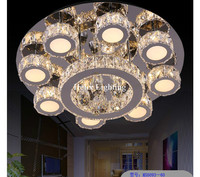 Free Shipping Hot Sale LED Crystal Ceiling Light Fixture AC Ring K9 Crystal Flush Mounted Lighting