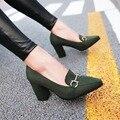 Ol de Las Mujeres; s Bloque tacones altos Señoras Bombas Dedo Del Pie puntiagudo Zapatos de Metal Decro Plus Sz Q3