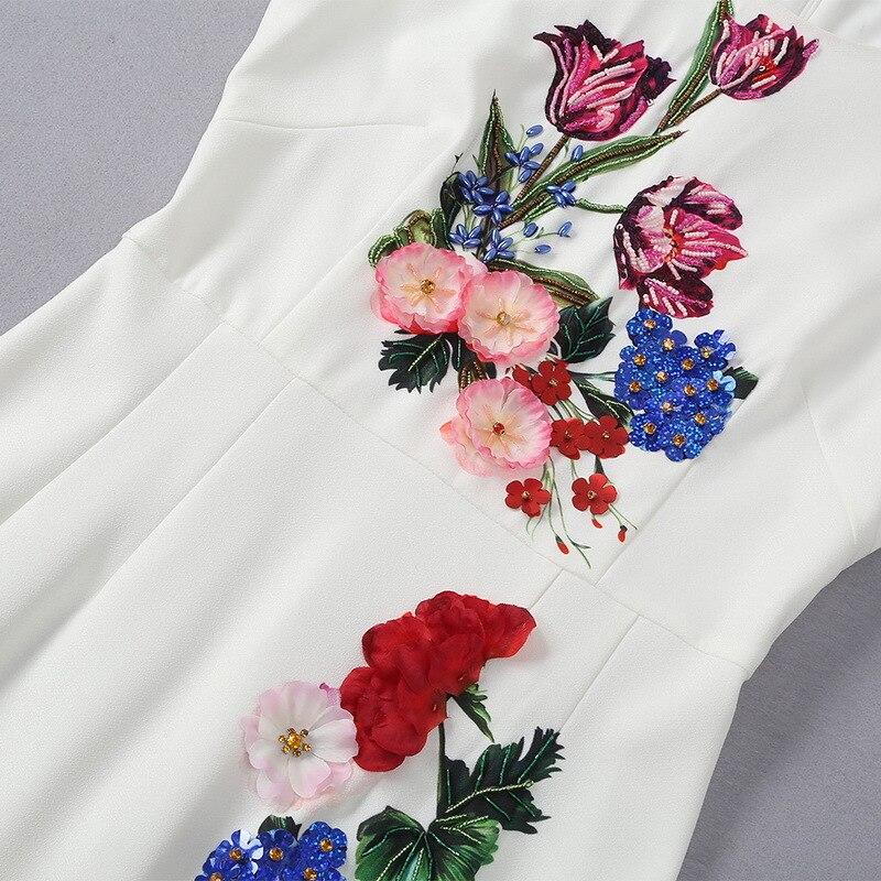 Printemps Fishtail Mode Européen Style Femmes 2019 Américain Sans Nail Perle Robe Et Dimensions De En Fleurs Nouveau Trois Manches pwTqBTgY