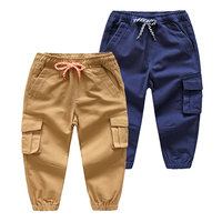 Boys Pants 2018 Spring Solid Cotton Drawstring Casual Kids Trousers For 2 8Y Children Clothing Kza879