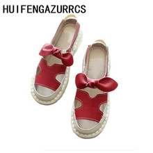 HUIFENGAZURRCS-Original style hand-sewn casual sandals, fish mouth soft bottom bow set foot female genuine leather student shoes