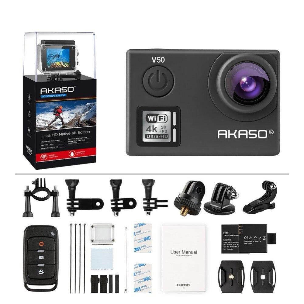 AKASO V50 4 K 30FPS WIFI Extérieure Sport Action Extrême casque caméra Avec Els Ultra HD Étanche DV Caméscope 20MP 170 degré