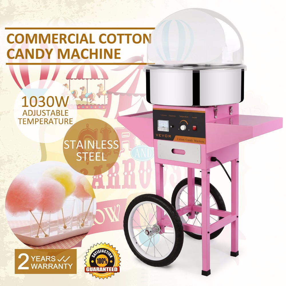 Brand New Commercial Electric Cotton Candy Machine Floss Maker Pink with Cart Stand & CoverBrand New Commercial Electric Cotton Candy Machine Floss Maker Pink with Cart Stand & Cover