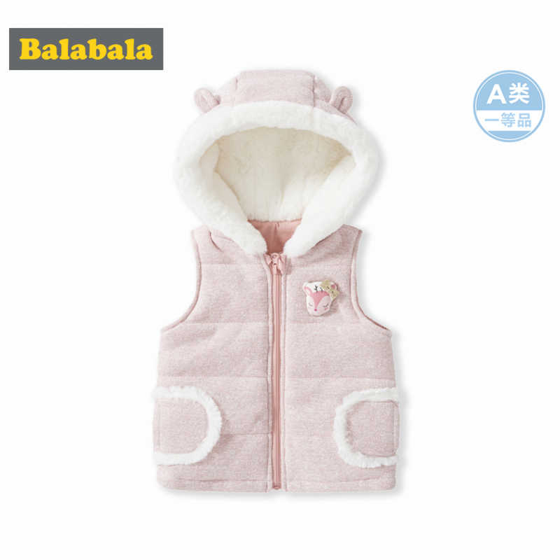 Balabala Infant Baby Critter Padded Vest with Faux-Fur-Lined Hood Cotton Lined Newborn Baby Girl Boy Hooded Vest with Pocket