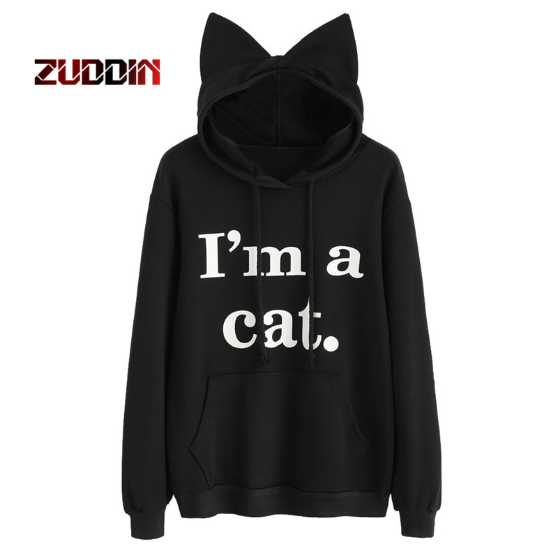 Dropshipping Women Sweatshirt Cat Slogan Print Cat Ear Kawaii Hoodie Sweatshirt New Blac ...