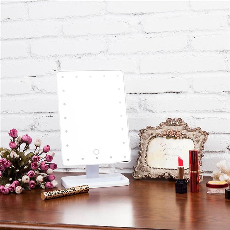ФОТО Rectangular 20 LED Lighted Vanity Mirror Table Lamp Touch Screen Battery Powered Makeup Mirrors Lamp Desk Light