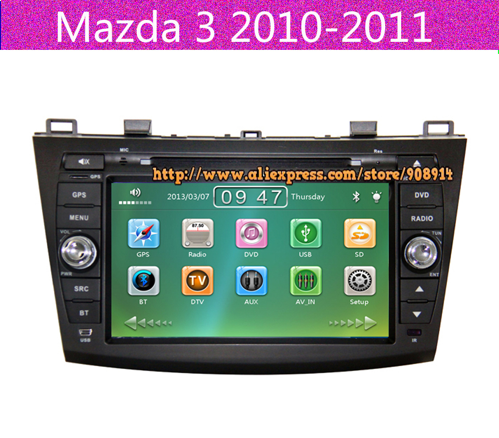 Free shipping car dvd player for mazda 3 2010 2011 with gps navigation radio bt