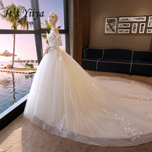 It's YiiYa Boat Neck Train Wedding Dresses Elegant Gown