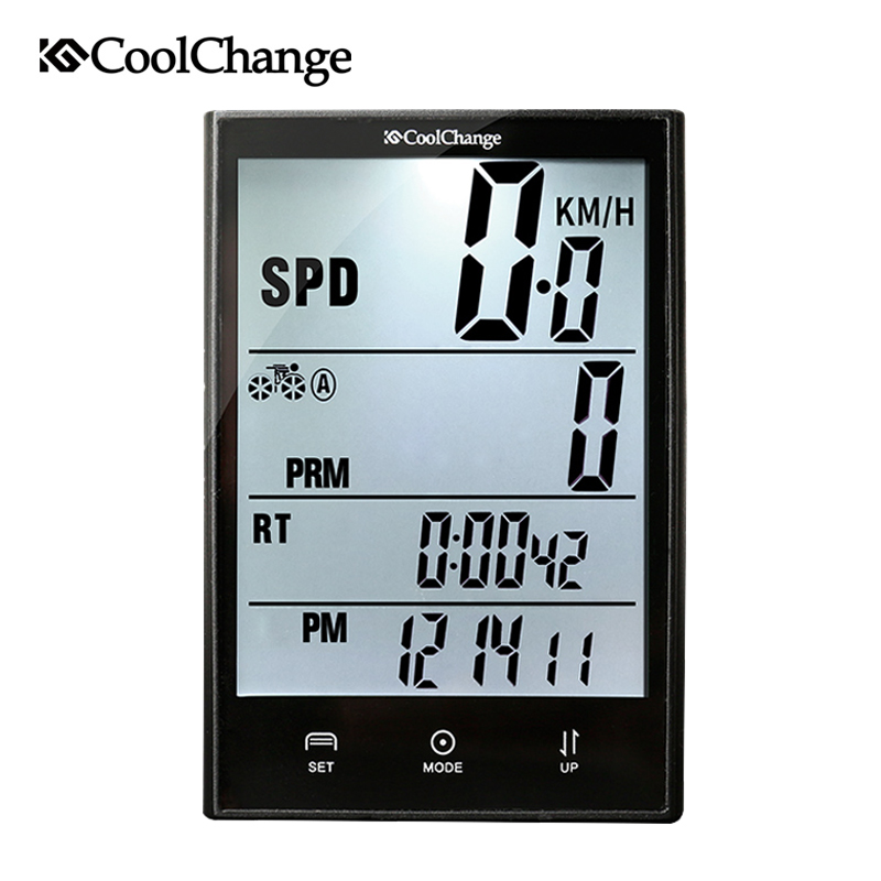 CoolChange Bicycle Computer Waterproof Large Screen Cycling Odometer Wireless and Wired Stopwatch MTB Bike Computer Speedometer