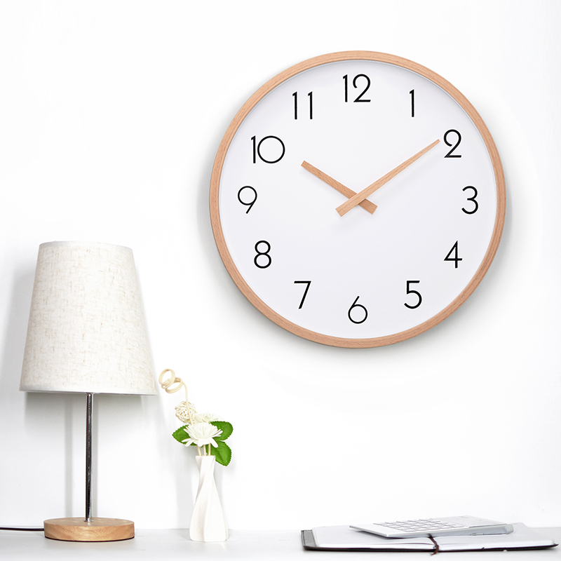 TXL 12inch Large Wall Clock, Silent Movement Non-ticking, Wood Frame Minimalism Home Decor 30cm 12