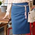 Primavera Verano Faldas Lápiz de Las Señoras Más El Tamaño XXL Rodilla-Longitud Solid Formal Falda de Las Mujeres Saia Femininas