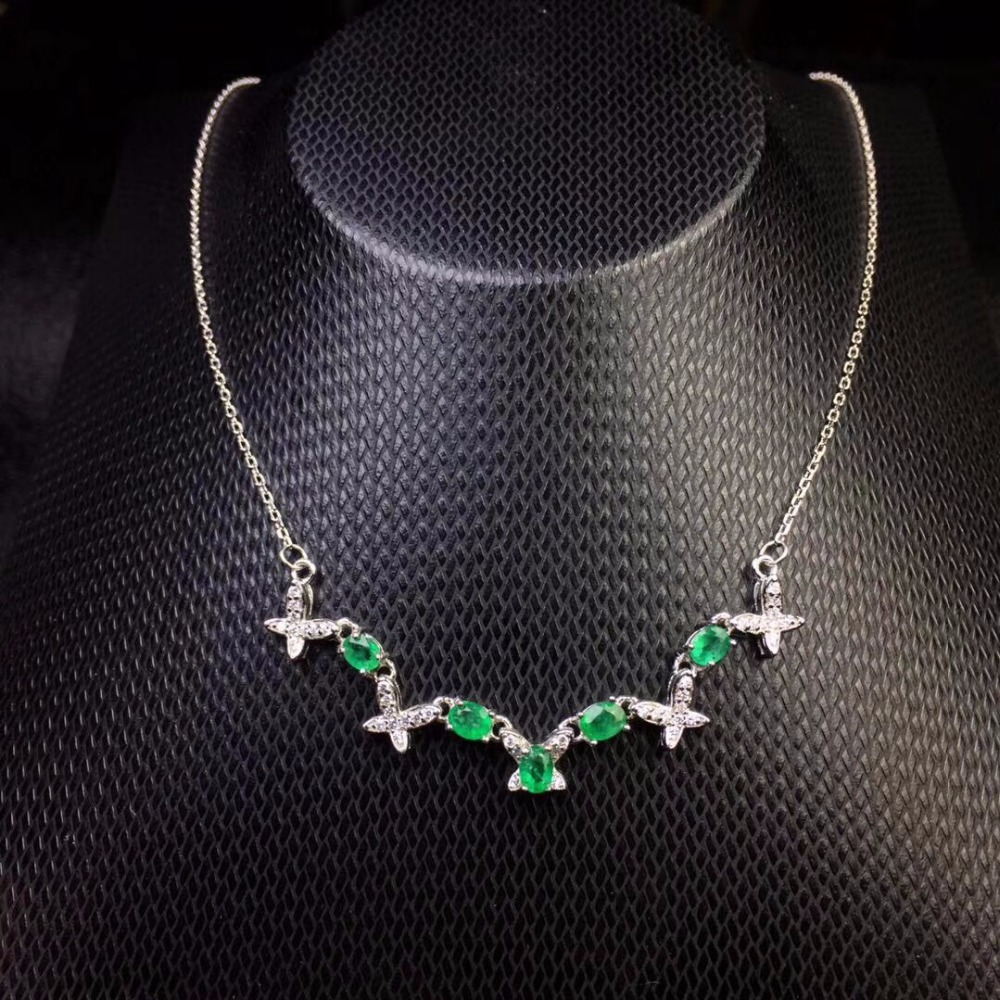 This year s most popular style natural emerald necklace 925 silver fashion girls simple fashion