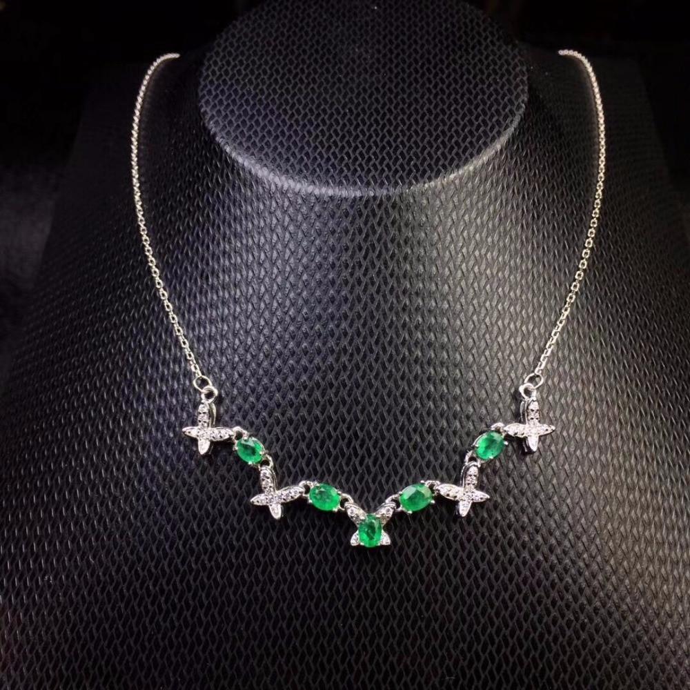 Bild von This year's most popular style natural emerald necklace 925 silver fashion girls simple fashion.