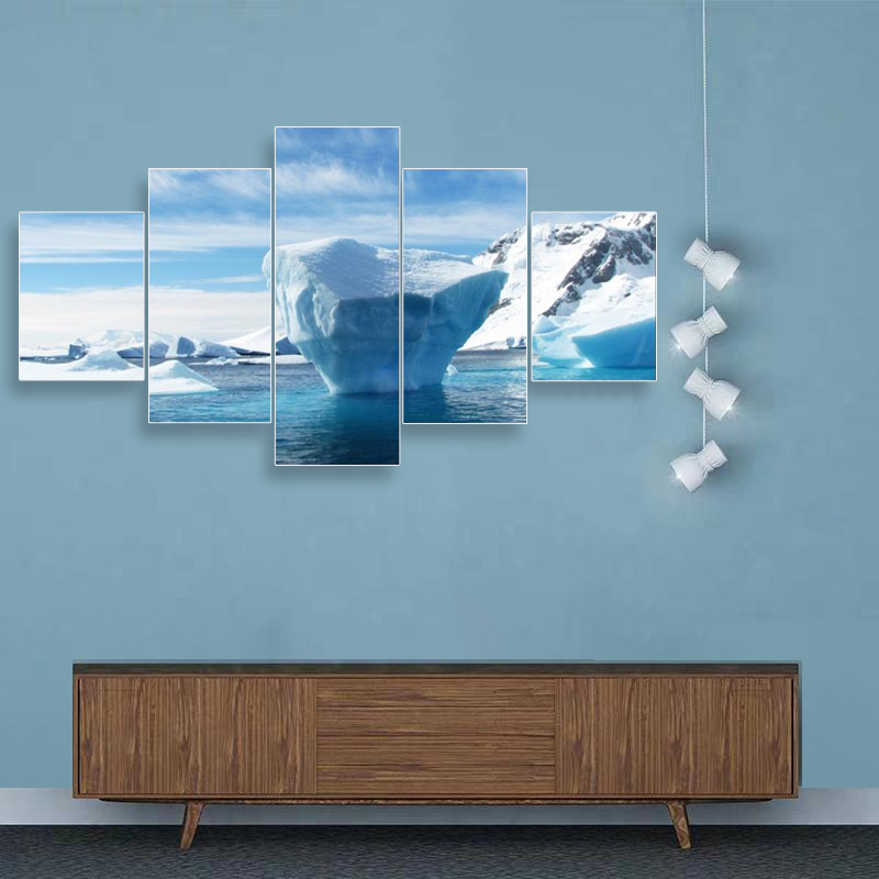 Laeacco Canvas Painting Calligraphy 5 Panel Iceberg Posters Vintage Decorative Wall Art Pictures for Home Living Room Decoration in Painting Calligraphy from Home Garden