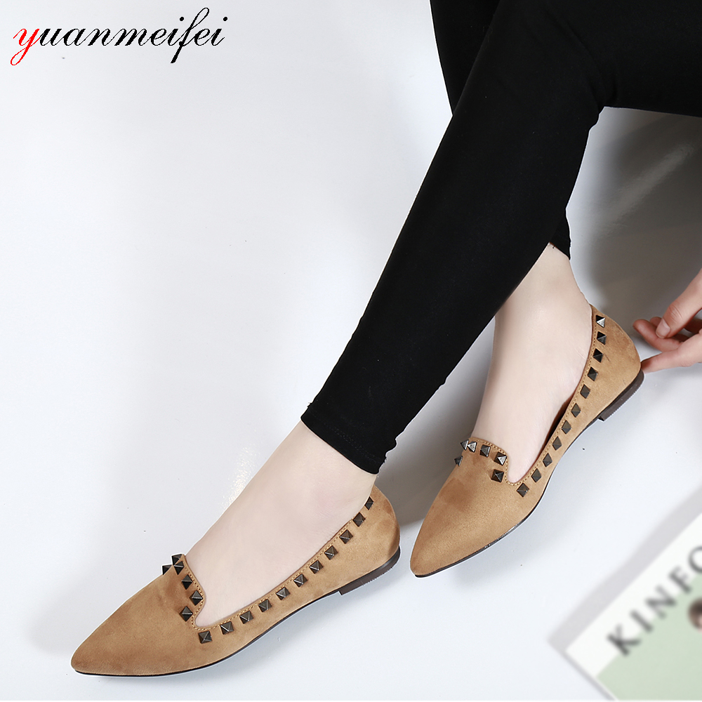yuanmeifei Rivet Flats Shoes Women Casual Loafers Shoes Lady Sandals Plus Size 41 Slip-On Spring/Autumn Pointed Toe New Arrival 017 new women sandals pointed toe slip on casual summer mixed colors shallow back strap women casual shoes black brown 4 10