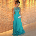 Real Picture Luxury Shiny Handmade Rhinestone Beading Long Evening Dress Blue Abendkleider 2016 Chiffon Formal Dress Prom Dress