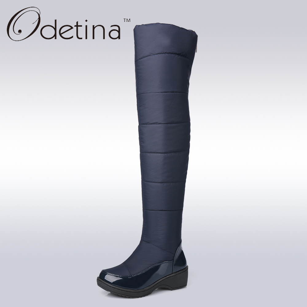 Odetina Warm Cotton Snow Boots Black Over The Knee Long Boots Womens Thigh High Boots Waterproof Fashion Ladies Winter Shoes ppnu woman winter nubuck genuine leather over the knee snow boots women fashion womens suede thigh high boots ladies shoes flats