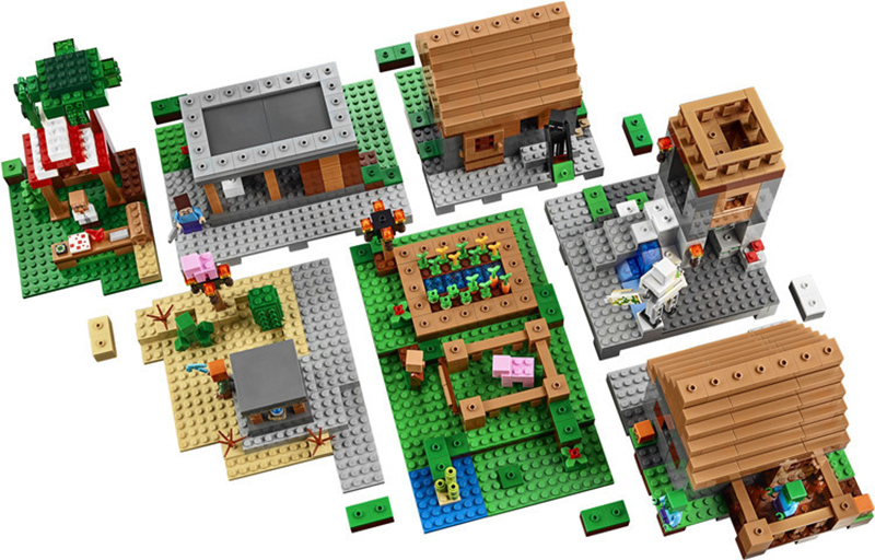 LEPIN 1600 pcs Model building kits compatible my worlds MineCraft Village blocks Educational toys hobbies for