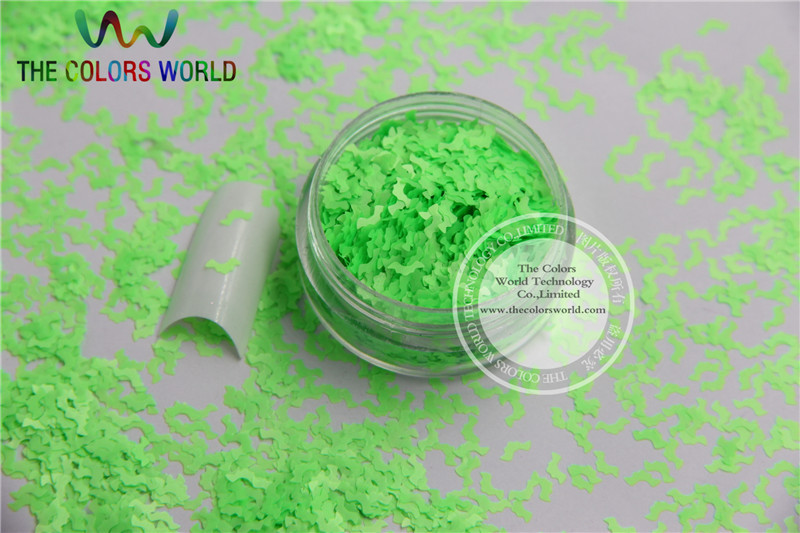 N-1 Size :5mm  Solvent Resistant Neon Green color Glitter Bat  shape spangles for Nail Art  and DIY supplies1pack=50g dn2 39 mix 2 3mm solvent resistant neon diamond shape glitter for nail polish acrylic polish and diy supplies1pack 50g