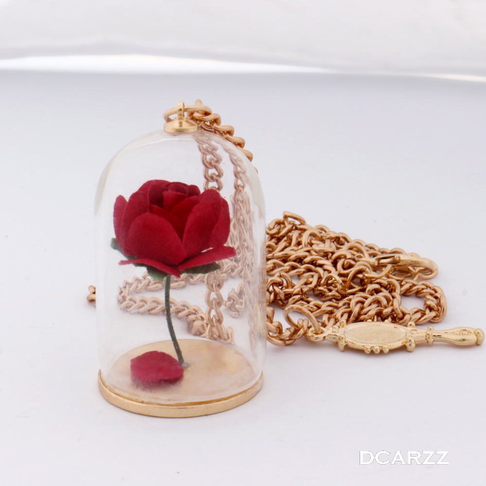Beauty and the Beast Necklace Enchanted Rose in Terrarium Pendant Rose Necklace Flower Handmade Jewelry for Women