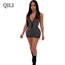 QILI Women Diamonds Rhinestone Rompers Black Blue Zipper Short Jumpsuit Overalls Summer Womens Fashion High Street Wear Paysuits