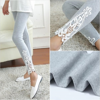 YSDNCHI Newly Hollow Design Women Leggings Lady Autumn Cotton Leggings Side Leg Triangle Lace Solid Pants Black Grey Elastic image