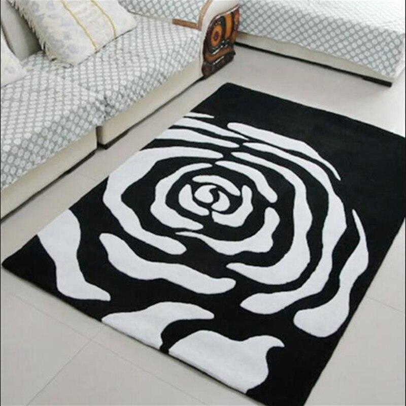 Main acrylique tapis dans le salon table chambre tapis Noir et blanc Tapis et tapis Tapis salon Alfombras de sala