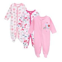 Купить с кэшбэком 3 Pcs/lot 100% Cotton Baby Romper Long Sleeves Comfortable Baby Pajamas Cartoon Printed Newborn Baby Boy Girl Clothes